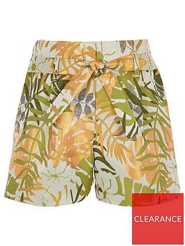 river-island-girls-palm-print-shorts-green