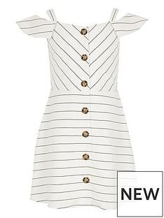 702a5bc71 River Island Girls stripe bardot pinafore dress - white