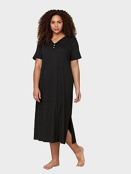 evans-evans-blackwhite-spot-longline-nightdress