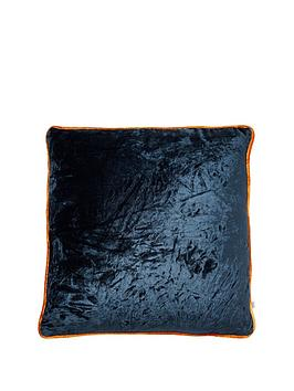 river-island-navy-velvet-cushion