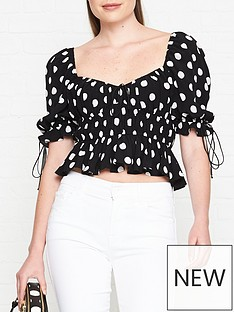 for-love-lemons-mochi-polka-dot-blouse-black