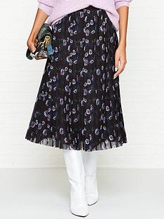 kenzo-passion-flower-print-pleated-midi-skirt-black