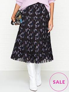 kenzo-passion-flower-print-pleated-midi-skirt-black
