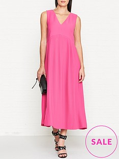 kenzo-pleated-sleeveless-midi-dress-pink