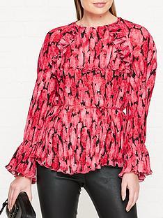 kenzo-peonie-print-pleated-blouse-pink