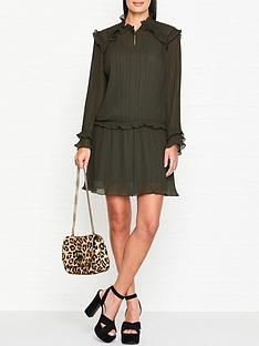 kenzo-pleated-long-sleeve-dress-khaki