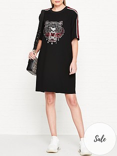 kenzo-tiger-head-crepe-t-shirt-dress-black