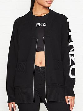 kenzo-logo-ribbed-zip-through-cardigannbsp--black