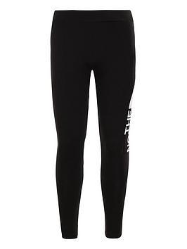 the-north-face-girls-cotton-blend-logo-leggings-blackwhite