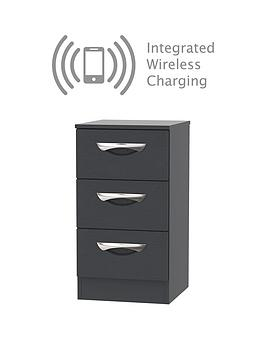 Swift Canterbury Ready Assembled 3 Drawer Bedside Chest With Integrated Wireless Charging