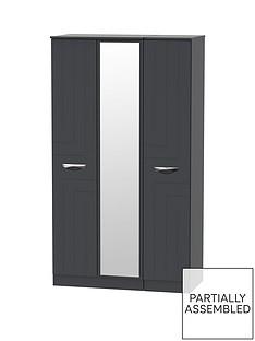 SWIFT Canterbury Part Assembled 3 Door Mirrored Wardrobe