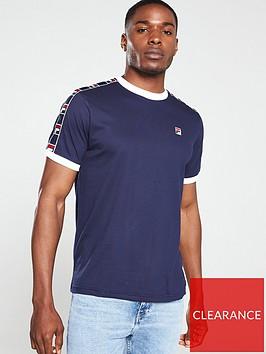 fila-luca-woven-taped-ringer-t-shirt-navy