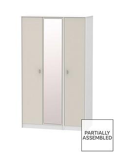 Sahara Part Assembled 3 Door Mirrored Wardrobe