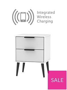 Copenhagen Ready Assembled 2 Drawer Bedside Tablewith Integrated Wireless Charging