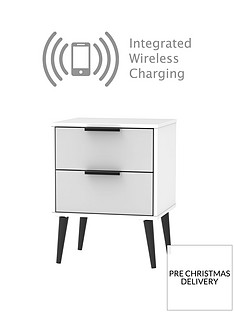 SWIFT Copenhagen Ready Assembled 2 Drawer Bedside Table with Integrated Wireless Charging