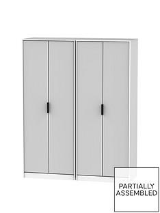 CopenhagenPart Assembled 4 Door Wardrobe