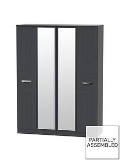SWIFT Canterbury Part Assembled 4 Door Mirrored Wardrobe