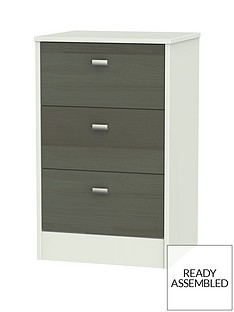 Sahara Ready Assembled 3 Drawer Bedside Cabinet
