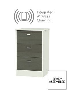 Sahara 3 Drawer Ready Assembled Bedside Cabinet with Integrated Wireless Charging