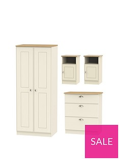 Charlotte 4 Piece Ready Assembled Package 2 Door Wardrobe 3 Drawer Chest And Bedside Chests
