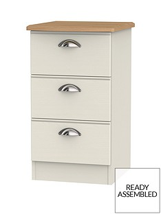 Charlotte Ready Assembled 3 Drawer Bedside Cabinetwith Integrated Wireless Charging