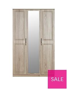 Winchester Part Assembled 3 Door Mirrored Wardrobe