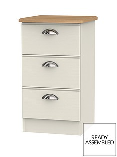 Charlotte Ready Assembled 3 Drawer Bedside Cabinet