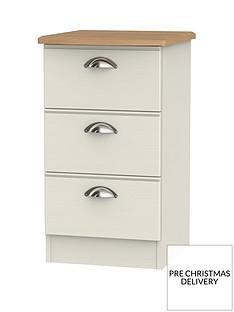 SWIFT Charlotte Ready Assembled 3 Drawer Bedside Cabinet