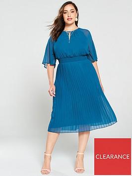 junarose-curve-muzz-24-sleeves-midi-dress-blue