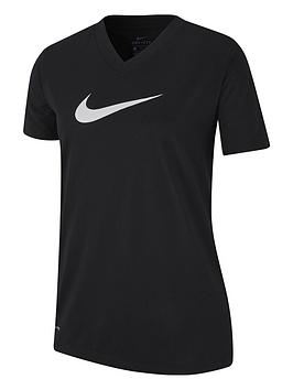 nike-girls-dry-v-neck-swoosh-t-shirt-blackwhite