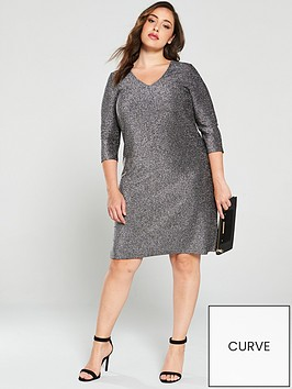 junarose-curve-sakina-lurex-shift-dress-blacksilver
