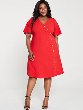 junarose-abine-button-front-dress-red