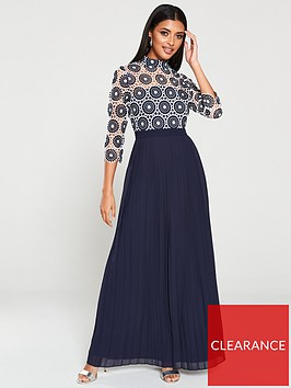 u-collection-forever-unique-crochet-lace-pleated-maxi-dress-navy