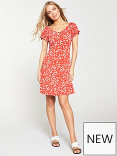 d25d51f6dd1d V by Very Floral O-Ring Front Jersey Dress - Ditsy Print