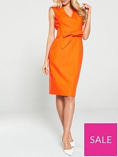 karen-millen-tie-waist-contour-dress-orange