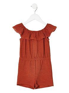 river-island-mini-mini-girls-stripe-bardot-playsuit-rust