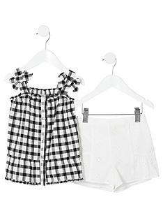 river-island-mini-mini-girls-gingham-bow-cami-top-outfit--black