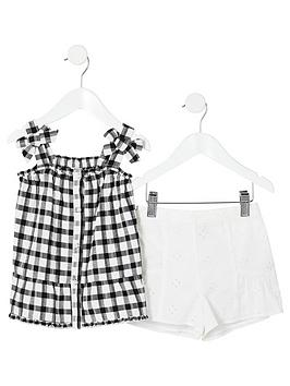 river-island-mini-mini-girls-gingham-bow-cami-top-outfit--black