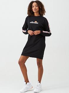 ellesse-exclusive-zia-tape-sweat-dress-black