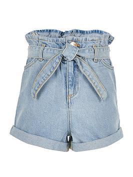 river-island-girls-paperbag-waist-shorts-light-blue