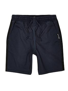 river-island-boys-tape-straight-fit-shorts-navy