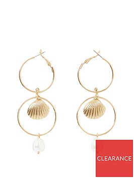 river-island-river-island-interlink-pearl-drop-earring-gold