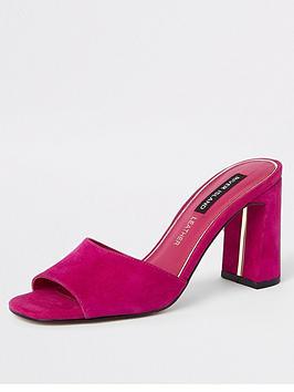 river-island-river-island-suede-mule-heel-sandals-pink