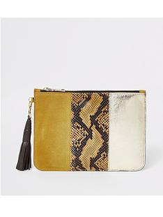 river-island-river-island-leather-panel-pouch-clutch-bag-yellow