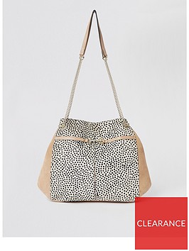 river-island-river-island-leather-printed-slouch-bag-beige