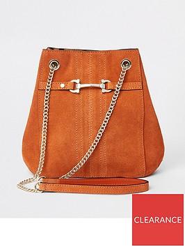 river-island-river-island-leather-snaffle-mini-slouch-bag-rust