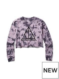 7745a8c5 Vans Harry Potter Deathly Hallows Crop Long Sleeve - Grey