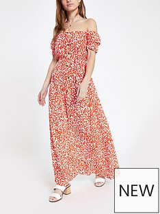 faf054679c RI Petite Printed Bardot Maxi Dress- Red