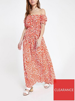 ri-petite-printed-bardot-maxi-dress--red