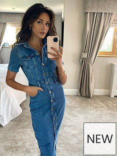 michelle-keegan-short-sleeve-denim-pencil-dress-light-blue